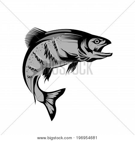 Atlantic bluefin tunny fish for seafood packaging label, fish market symbol or restaurant menu design