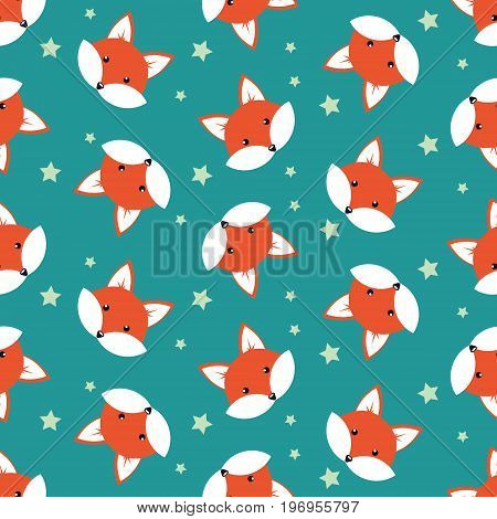 Cute cartoon foxes, Vector seamless pattern with foxes faces