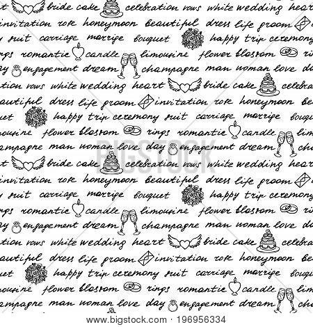Lettering hand drawn seamless pattern. Words and drawings on the theme of wedding.