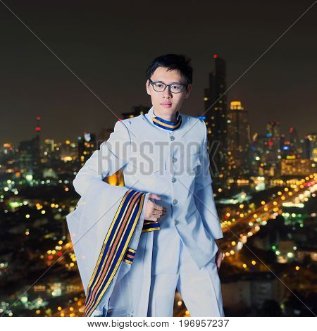 Portrait of Thai Scholar with Bangkok city bokehs