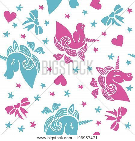 Unicorns love seamless pattern with pink and blue flying unicorns, heart, ribbons and stars. Vector.