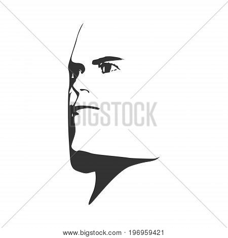 Brutal man. Man avatar. Half turn view. Isolated male face silhouette or icon. Vector illustration.