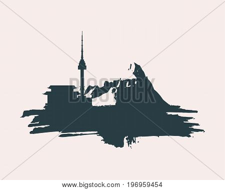 Namsan tower in Seoul and pagoda icons in simple style on grunge brush stroke. High mountains silhouette