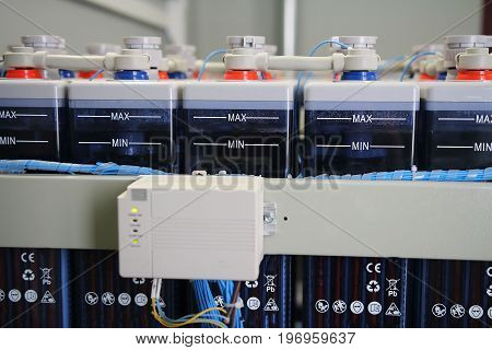 Charging system of industrial DC battery electric power supply accumulators. Control charge of system accumulators.