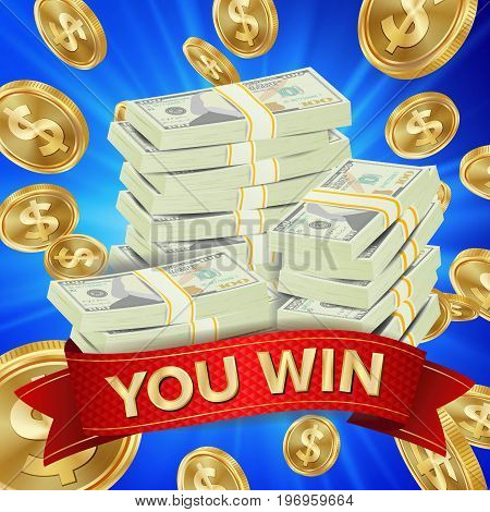 Big Winner Background Vector. Gold Coins Lucky Jackpot Illustration. Big Win Banner. For Online Casino, Playing Cards, Slots, Roulette. Money Banknotes Stacks. Nightclub Glowing Billboard Concept.