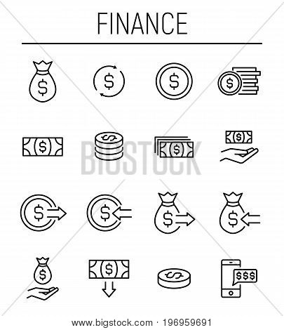 Set of finance icons in modern thin line style. High quality black outline money symbols for web site design and mobile apps. Simple linear finance pictograms on a white background.