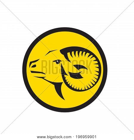 Illustration of a Ram Sheep Head viewed from side set inside Circle done in Tribal Art style.