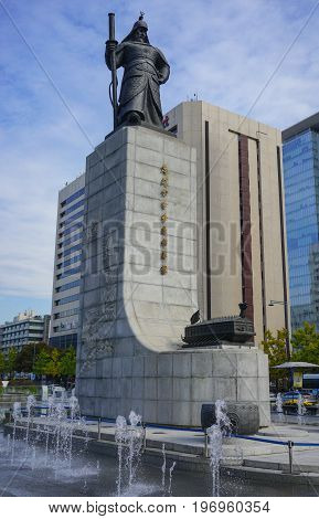 SEOUL SOUTH KOREA - OCTOBER 28, 2016 : Gwanghwamun Square with the statue of the Admiral Yi Sun-sin