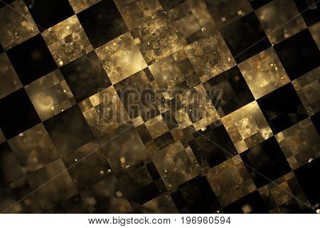 Abstract Checkered Grunge Background. Fantasy Fractal Texture In Gold And Black Colors. 3D Rendering