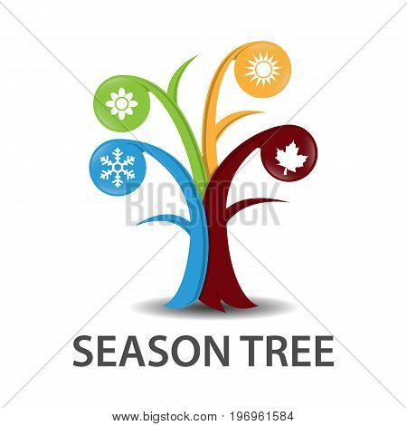 illustration of tree with seasons vector eps8 eps10