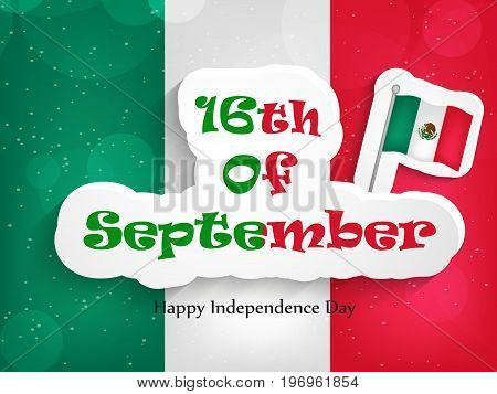 illustration of Mexico flag with 16th of September text on the occasion of Mexico Independence Day