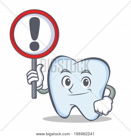 Bring sign tooth character cartoon style vector illustration