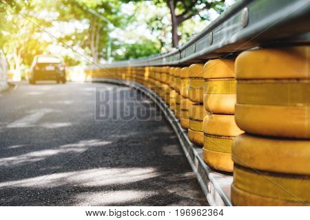 Road railing barrier, selective focus shallow depth of field, accident safety system on the road