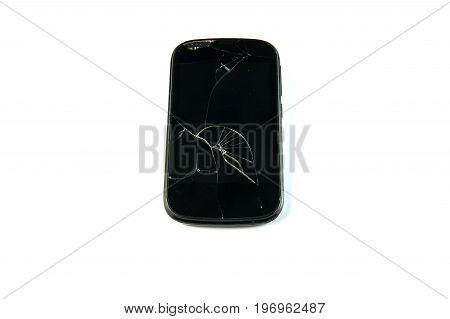 Broken smartphone : front screen broken on white background