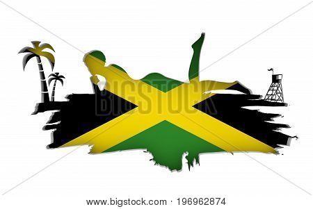 Young woman sunbathing on a beach. Cutout silhouette of the relaxing girl on a grunge brush stroke. Palm and lifeguard tower. Flag of the Jamaica on backdrop. 3D rendering.