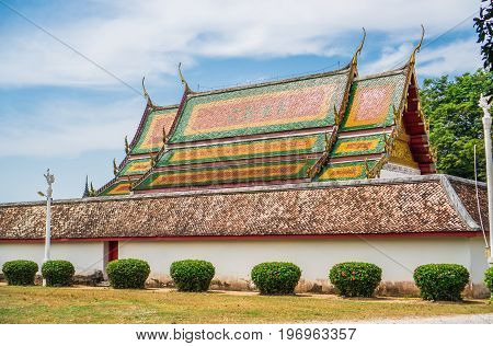 The roof of the church in the ancient temple in Buddhism.