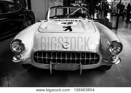 BERLIN - MAY 10 2015: Sports car Chevrolet Corvette (C1) by Heidi Hetzer. Black and white. 28th Berlin-Brandenburg Oldtimer Day