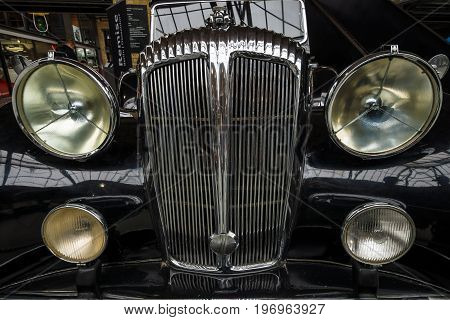 BERLIN - MAY 10 2015: Fragment of a luxury car Daimler DE 36 (Straight-Eight Hooper Landaulet) 1949. 28th Berlin-Brandenburg Oldtimer Day