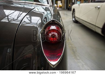 BERLIN - MAY 10 2015: The rear brake lights vintage car Facel Vega FV4 Typhoon 1958. The 28th Berlin-Brandenburg Oldtimer Day