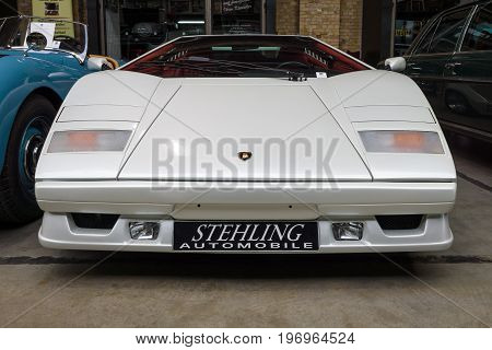 BERLIN - MAY 10 2015: A mid-engined supercar Lamborghini Countach LP 25th Anniversary 1990. The 28th Berlin-Brandenburg Oldtimer Day