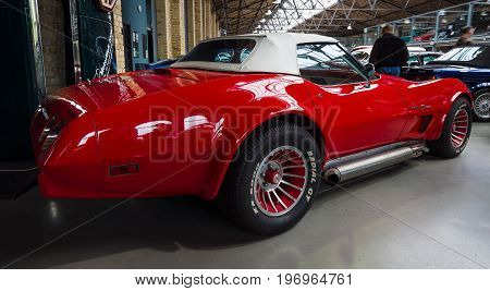 BERLIN - MAY 10 2015: Sports car Chevrolet Corvette (C3) Stingray Convertible. 28th Berlin-Brandenburg Oldtimer Day