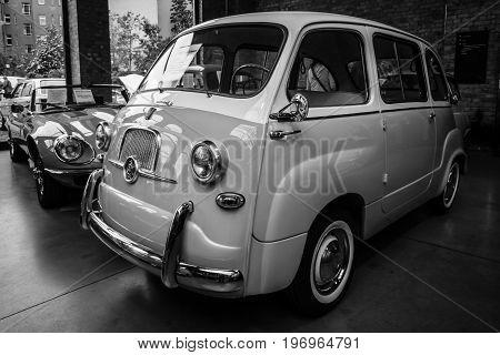 BERLIN - MAY 10 2015: Mini MPV (multi-purpose vehicle) Fiat 600 Multipla. Black and white. 28th Berlin-Brandenburg Oldtimer Day