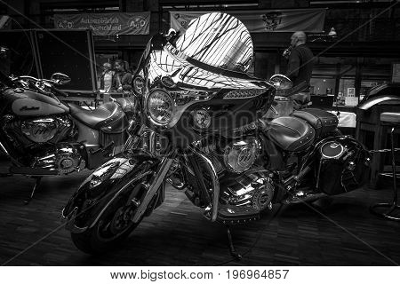 BERLIN - MAY 10 2015: Motorcycle Indian Chieftain (2014-present). Black and white. 28th Berlin-Brandenburg Oldtimer Day
