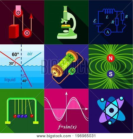 School science program icons set. Flat set of 9 school science program vector icons for web with long shadow