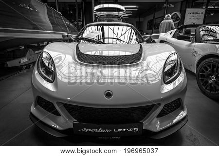 BERLIN - MAY 10 2015: Sports car Lotus Exige S Coupe. Black and white. 28th Berlin-Brandenburg Oldtimer Day