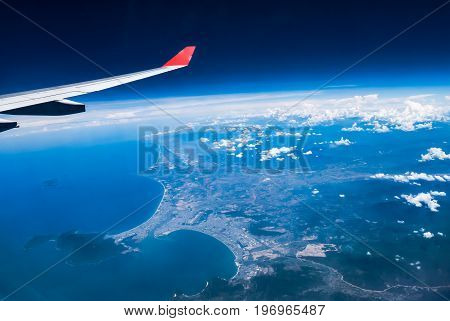 Danag Vietnam : High view from airplane. Showing port of Danang Danag International Airport.