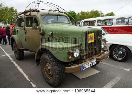 BERLIN - MAY 10 2015: Military vehicles Volvo TP21 (Sugga) Swedish Army Radio & Command Vehicle nickname: