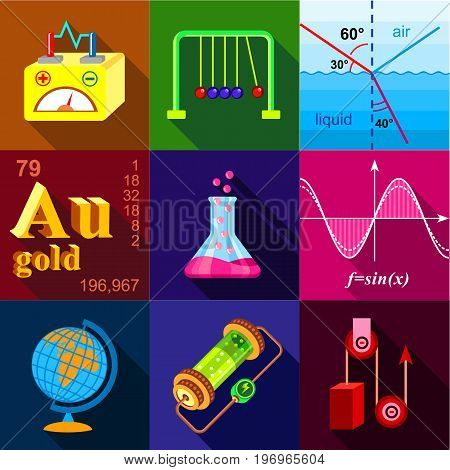 Scientific experience icons set. Flat set of 9 scientific experience vector icons for web with long shadow