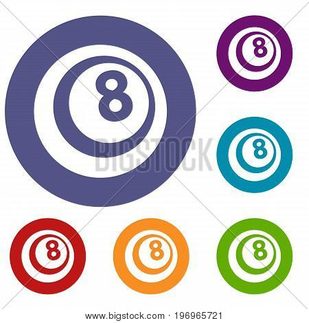 Black and white snooker eight pool icons set in flat circle red, blue and green color for web