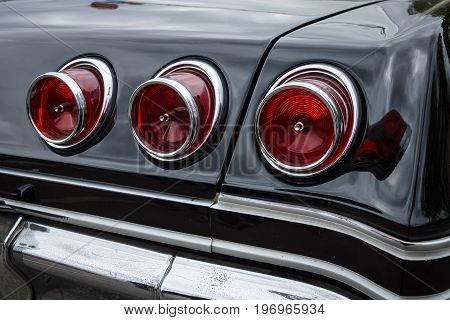 BERLIN - MAY 10 2015: Stoplight of a full-size car Chevrolet Impala (fourth generation). 28th Berlin-Brandenburg Oldtimer Day