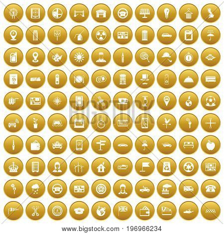 100 taxi icons set in gold circle isolated on white vector illustration