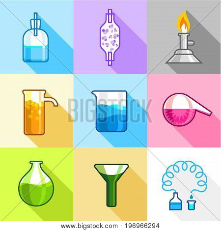 Laboratory experiment icons set. Flat set of 9 laboratory experiment vector icons for web with long shadow
