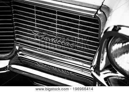 BERLIN - MAY 10 2015: Fragment of a full-size luxury car Cadillac Sedan De Ville. 28th Berlin-Brandenburg Oldtimer Day