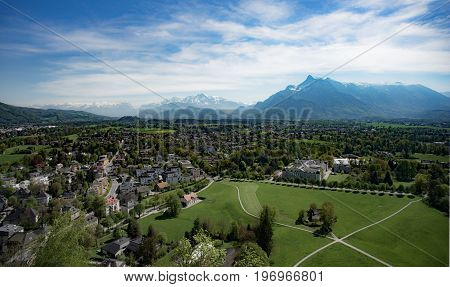 Salzburg town : high view from Hohensalzburg Castle