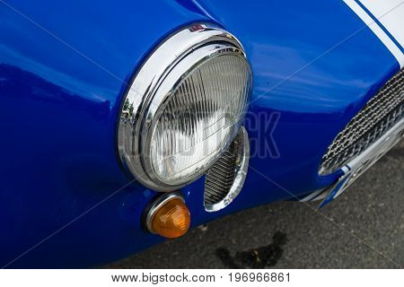BERLIN - MAY 10 2015: Fragment of a sports car AC Shelby Cobra. 28th Berlin-Brandenburg Oldtimer Day