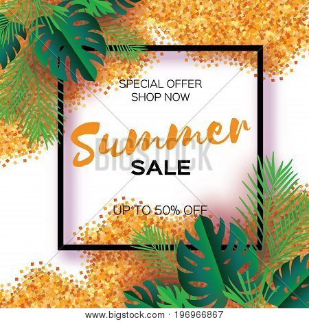 Tropical palm leaves, plants. Trendy Summer Sale Template banner. Paper cut art Exotic. Hawaiian. Text. Square frame. Green jungle floral background with gold glitter. Monstera. Vector illustration