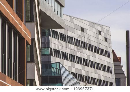 facades of new modern office buildings in the city