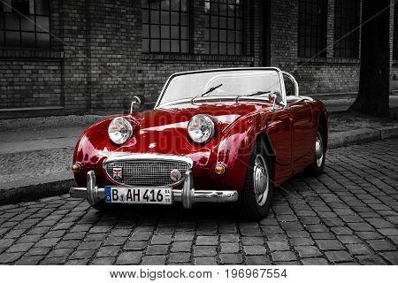 BERLIN - MAY 10 2015: Sports car Austin-Healey Sprite Mk I. Stylization. Combined toning. 28th Berlin-Brandenburg Oldtimer Day