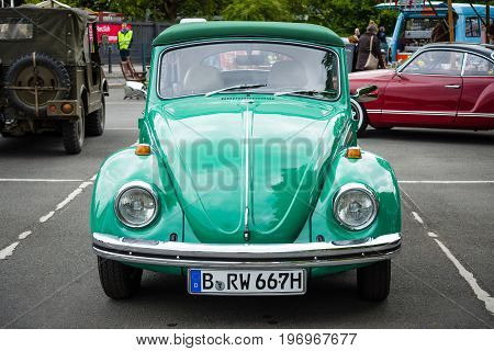 BERLIN - MAY 10 2015: Subcompact economy car Volkswagen Beetle. 28th Berlin-Brandenburg Oldtimer Day