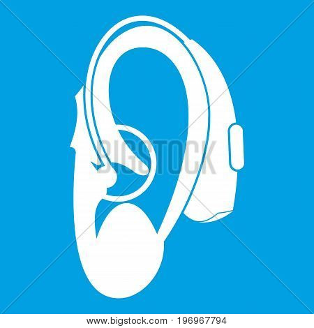 Hearing aid icon white isolated on blue background vector illustration