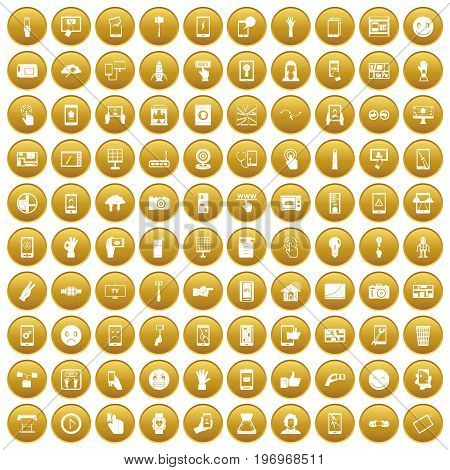 100 touch screen icons set in gold circle isolated on white vector illustration