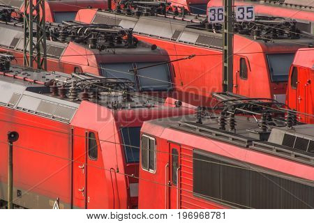 railway engines waiting for the next travel on a sidetrack
