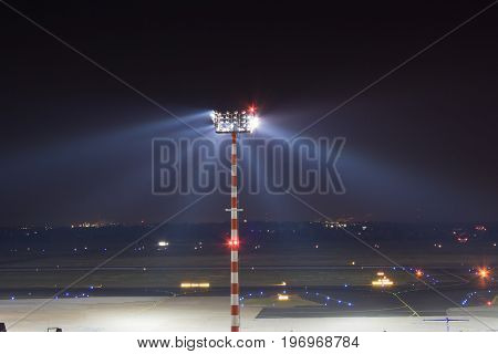 spotlight on the outside of the airport of dusseldorf