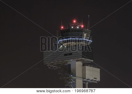The tower of the airport in Dusseldorf
