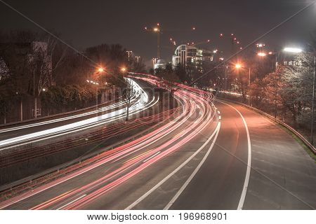 Highway near the inner city of Dusseldorf (long term exposure)