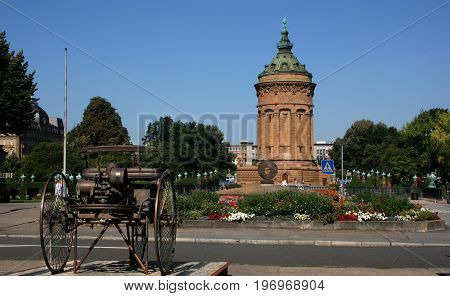 the water tower in mannheim is a famous landmark